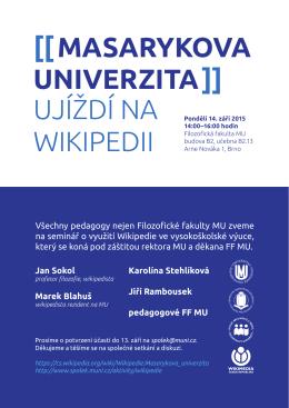 Masarykova univerzita ujíždí na Wikipedii