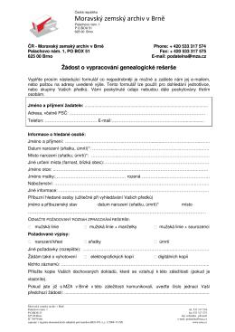 Žádost o vypracování genealogické rešerše