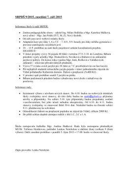 Zápis ze schůze výboru dne 7.9.2015