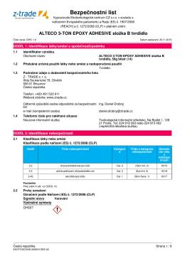 Bezpečnostní list: ALTECO 3-TON EPOXY ADHESIVE
