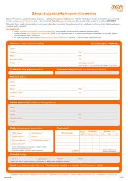 Závazná objednávka importního servisu