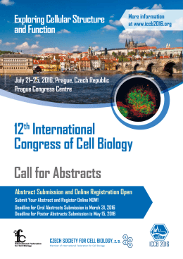 Call for Abstracts 12th International Congress of Cell Biology