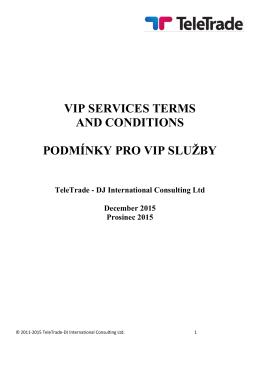 Smluvní podmínky pro VIP služby.