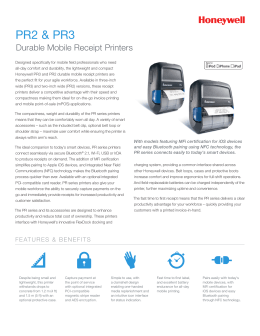 PR2 & PR3 Durable Mobile Receipt Printers Data Sheet