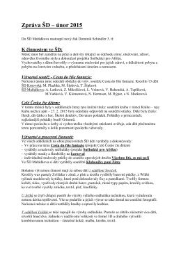 Zpráva ŠD - únor 2015 - Základní škola Opava, Mařádkova 15