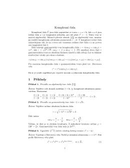 Souhrn tématu komplexní čísla