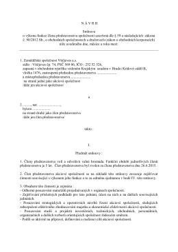 N Á V R H Smlouva o výkonu funkce člena představenstva