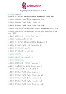 Program pódiových vystoupení sobota 23.5.2015