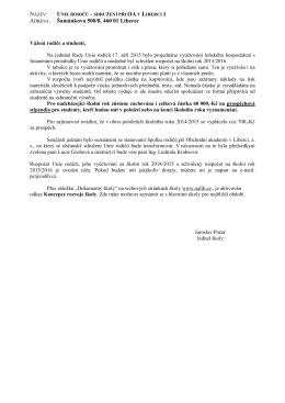 září 2015 - dopis a rozpočet