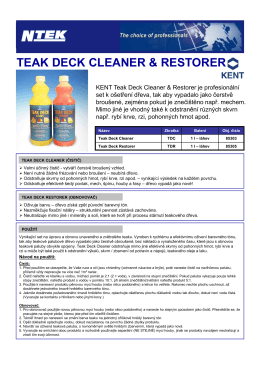TEAK DECK CLEANER & RESTORER - 85303, 85305 - TDS - N-tek