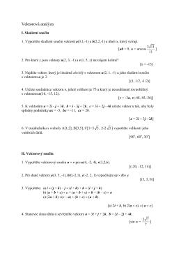 Vektorová analýza I