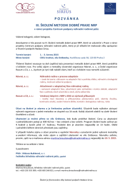 Školení metodik dobré praxe NRP - pozvánka