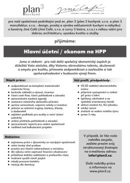 Hlavní účetní / ekonom na HPP