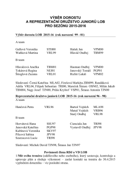 Složení RDJ a VD LOB 2015-16