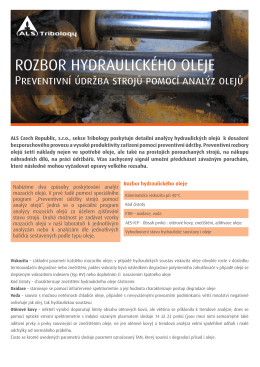 ROZBOR HYDRAULICKÉHO OLEJE