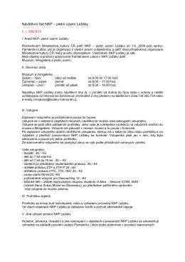 Návštěvní řád NKP – pietní území Ležáky