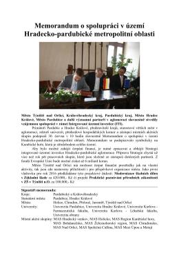 Memorandum o spolupráci v území Hradecko