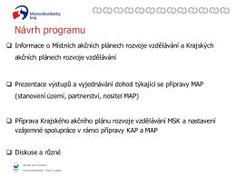 Jednání k MAP - MS kraj, 24. 8. 2015