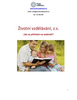 Přihlášení na webinář - Životní vzdělávání, zs