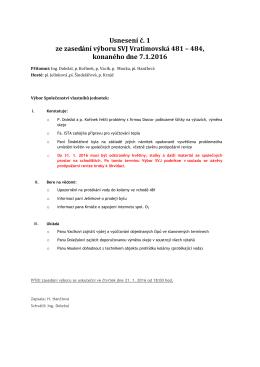 01/2016 ze dne 7. ledna - SVJ Vratimovská 481-484