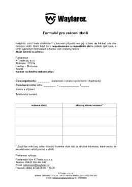 formulářem pro vrácení zboží - My