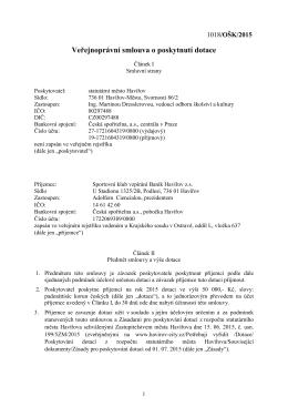 Veřejnoprávní smlouva o poskytnutí dotace