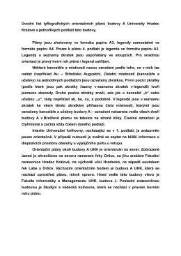 Úvodní list tyflografických orientačních plánů budovy A