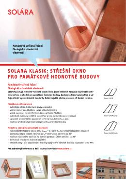 Solara KlaSiK: Střešní oKno pro památKově hodnotné budovy