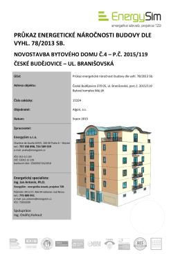 průkaz energetické náročnosti budovy dle vyhl. 78/2013