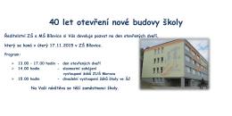 40 let otevření nové budovy školy