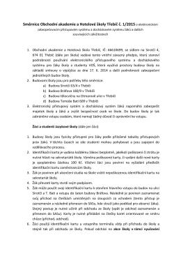 Směrnice o elektronickém zabezpečovacím přístupovém systému žáků
