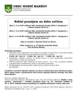 Nabídka pronájmu bytů v domě Tř. Josefa II. č. p. 97