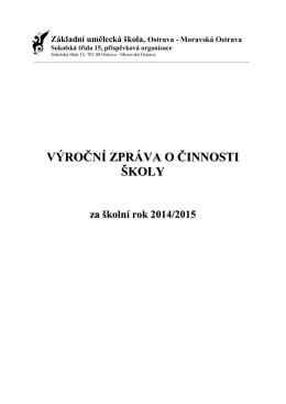 Výroční zpráva 2014-2015 - ZUŠ Moravská Ostrava