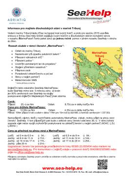 Informace pro majitele dlouhodobých stání v maríně - Sea-Help