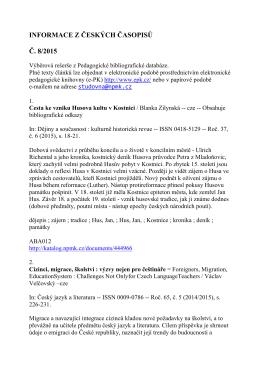 INFORMACE Z ČESKÝCH ČASOPISŮ Č. 8/2015