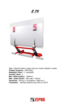 Typ: Klasické lehké zvedací čelo pro menší nákladní vozidla Zvedací