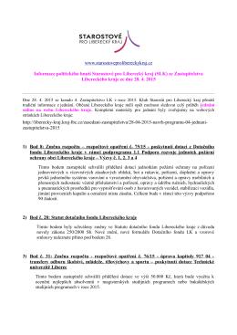 Zpráva ze zastupitelstva 28.4.2015