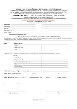 Výhradní zprostředkovatelská smlouva - Byt - DV