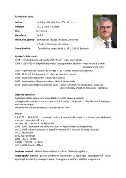 Curriculum vitae Jméno prof. Ing. Miloslav Šoch, CSc., dr. h. c.