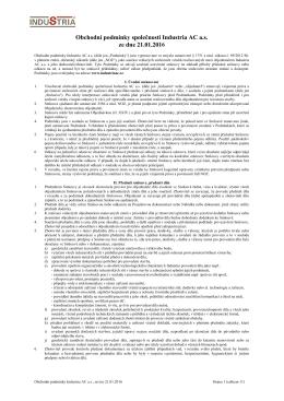 Obchodní podmínky společnosti Industria AC a.s.