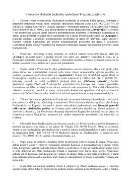 Všeobecné obchodní podmínky společnosti Freezone