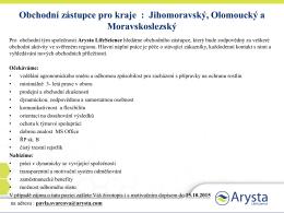 Obchodní zástupce pro kraje : Jihomoravský, Olomoucký a