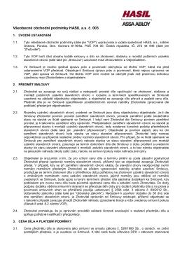 Všeobecné obchodní podmínky HASIL a.s. č. 003