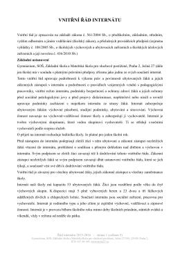 Řád internátu 2015-2016 - Gymnázium, Střední odborná škola