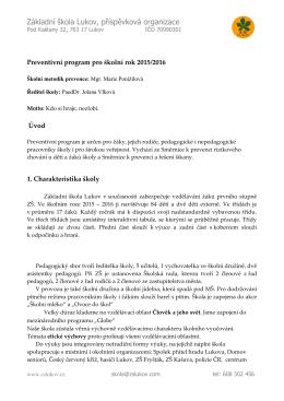 Preventivni program - Základní škola Lukov