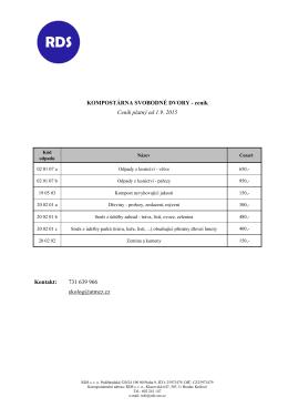 ceník Ceník platný od 1.9. 2015 Kontakt