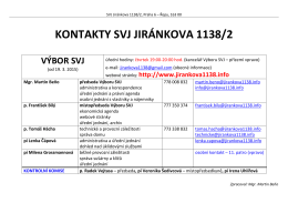 Kontakt Výbor SVJ, KK a Správy budovy