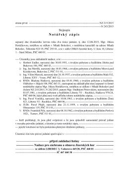 Zakládací listinu - Nadace pro záchranu a obnovu Jizerských hor