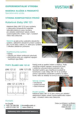 Kabelové žlaby UNI 121 - Výzkumný ústav stavebních hmot,as