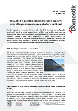TZ_Nova pobocka a vysledky 2014_DOMESTIK_07042015